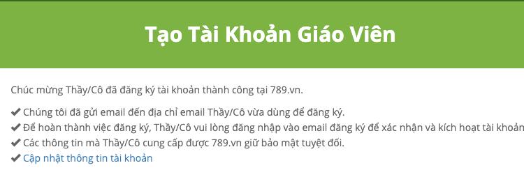 Hoàn thành đăng ký cho Giáo viên cùng ngân hàng câu hỏi 789.vn